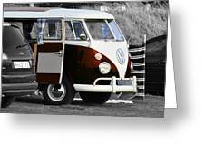 Orange Vw Camper Greeting Card by Paul Howarth