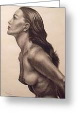 Original Charcoal Nude Female Profile Study Greeting Card by Neal Luea