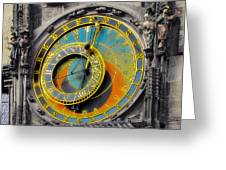 Orloj - Astronomical Clock - Prague Greeting Card by Christine Till