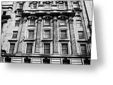 ornate facade of 124 st vincent street refurbished into modern office space glasgow scotland uk Greeting Card by Joe Fox