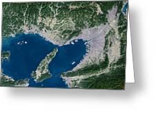 Osaka, Satellite Image Greeting Card by Planetobserver