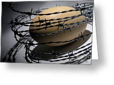 Ostrich Egg Surrounded By Barbed Wire Greeting Card by Sami Sarkis