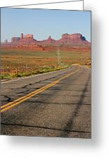 ouest USA route monument valley road Greeting Card by Audrey Campion