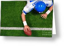 Overhead American Football Player One Handed Touchdown Greeting Card by Richard Thomas