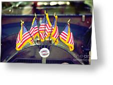 Overland Vintage Car With Flags Greeting Card by Floyd Menezes