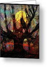 Owl And Willow Tree Greeting Card by Mimulux patricia no