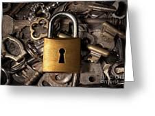 Padlock Over Keys Greeting Card by Carlos Caetano
