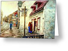 Paintings Of Quebec Landmarks Aux Anciens Canadiens Restaurant Rainy Morning October City Scene  Greeting Card by Carole Spandau