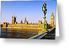 Palace of Westminster from bridge Greeting Card by Elena Elisseeva
