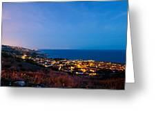 Palos Verdes City Lights Greeting Card by Adam Pender