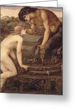 Pan And Psyche Greeting Card by Sir Edward Burne-Jones