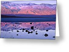 Panamint Range Reflected In Standing Greeting Card by Tim Fitzharris