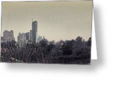 Panorama Of Central Park - Old Fashioned Sepia Greeting Card by Alex AG