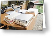 Paperwork On An Office Desk Greeting Card by Jetta Productions, Inc