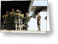Paratroopers Gather Around The Back Greeting Card by Stocktrek Images