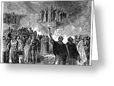 PARIS: BURNING OF HERETICS Greeting Card by Granger