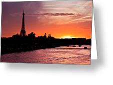 Paris Sunset Greeting Card by Mircea Costina Photography