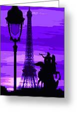 Paris Tour Eiffel Violet Greeting Card by Yuriy  Shevchuk