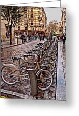 Paris Wheels For Rent Greeting Card by Bob and Nancy Kendrick