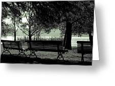 Park Benches In Autumn Greeting Card by Joana Kruse