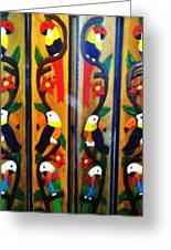 Parrots And Tucans  Greeting Card by Unique Consignment