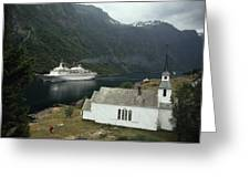 Passenger Ship Cruising The Fjords Greeting Card by Paul Chesley