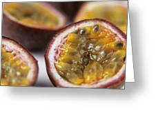 Passion Fruit Halves Greeting Card by Veronique Leplat