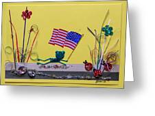 Patriot Frog Greeting Card by Gracies Creations