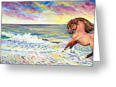 Pawing The Surf Greeting Card by Jenn Cunningham