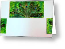 Peacock Feather Trio Greeting Card by Evelyn SPATZ