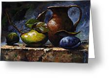 Pear And Plum Greeting Card by Emerico Imre Toth