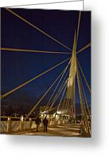 Pedestrians Cross The Modern Bridge Greeting Card by Taylor S. Kennedy