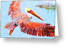 Pelican Flying Back To The Docks Greeting Card by Wingsdomain Art and Photography