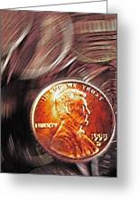 Pennies Abstract 2 Greeting Card by Steve Ohlsen