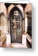 Pere La Chaise Cemetery Ornate Mausoleum Greeting Card by Kathy Fornal