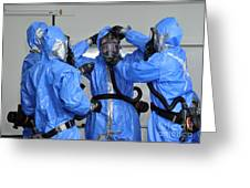 Personnel Dressed In Hazmat Suits Greeting Card by Stocktrek Images