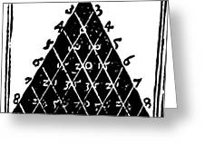 Petrus Apianus's Pascal's Triangle, 1527 Greeting Card by Dr Jeremy Burgess