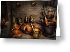 Pharmacy - Alchemist's Kitchen Greeting Card by Mike Savad