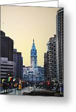 Philadelphia Cityhall At Dawn Greeting Card by Bill Cannon