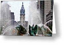 Philadelphia Fountain Greeting Card by Bill Cannon