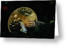 Philippine Gold Coin With Turret Shell Greeting Card by Paul Zahl