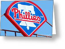 Phillies Logo Greeting Card by Carol Christopher