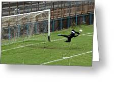 Photo Puzzle Of The Goalkeeper Greeting Card by John Vito Figorito