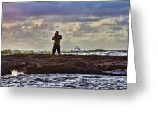 Photographing Seaside Life Greeting Card by Douglas Barnard