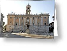 Piazza Del Campidoglio. Capitoline Hill. Rom Greeting Card by Bernard Jaubert