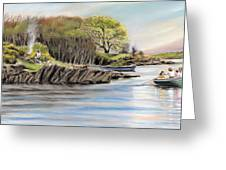 Picnic On The Lake Greeting Card by Vanda Luddy