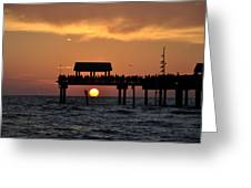 Pier 60 Clearwater Beach - Watching The Sunset Greeting Card by Bill Cannon
