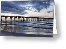 Pier In The Evening Greeting Card by Sandy Keeton