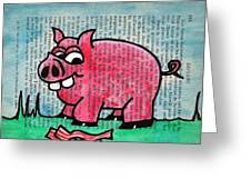 Piggy Contemplating Bacon Greeting Card by Jera Sky