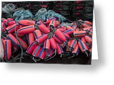 Pile Of Pink And Blue Buoys Greeting Card by Carol Leigh